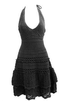 VICTORIAS SECRET NWOT Cotton Crochet Halter Dress XS Black Moda International #ModaInternational #Sundress #Casual