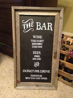 Wedding Bar Menu Sign. $75.00, via Etsy.