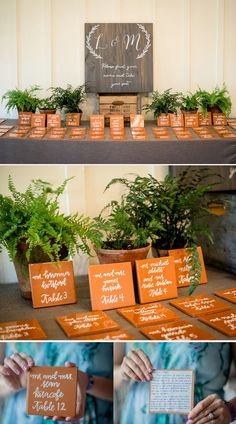 such a unqiue escort card idea!  tiles with messages to each guest written on the back!  ~  we ❤ this! moncheribridals.com