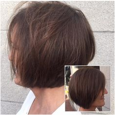 Our client came in with shoulder length hair, wanting to go shorter. Our stylist Jenny gave our client body and volume with this beautiful chin length haircut.