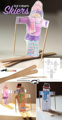 Ice cream skiers and ideas for easy winter crafts for kids! Winter Art Projects, Winter Crafts For Kids, Winter Kids, Projects For Kids, Art For Kids, Winter Sports, Winter Activities, Craft Activities, Preschool Crafts