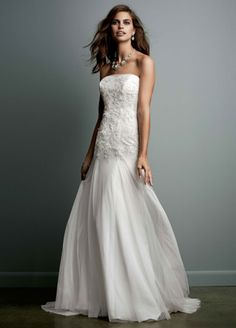 WG3492 Galina - Strapless Tulle Wedding Gown with Lace Embroidery - $99 at David's Bridal
