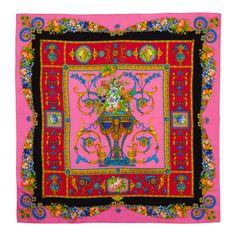 Vintage Pink Printed Silk Scarf  :  Versace      c1980's