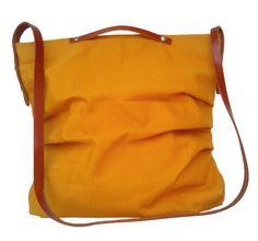 Mustard Canvas Bag  Leather / Canvas Shoulder Bag / by 13sferas
