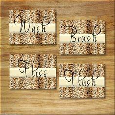 Leopard Bathroom Cheetah Print WORD Art Wall Decor WASH FLOSS BRUSH FLUSH Animal #JoCollinscollagebycollins #wordart