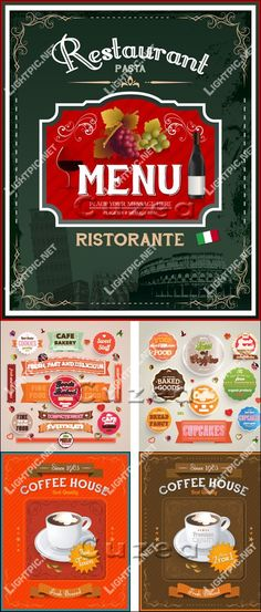 Vintage italian restaurant menu and food labels - vector stock 5 eps ...