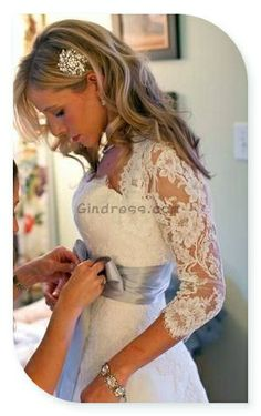 I dont like pinning wedding things but I loved this too much to pass up! Lace sleeves? Classy, elegant, and still modest Like, Comment, Repin !!
