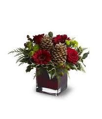 Pinecone arrangement..  love the deep red w/ the pinecones. Thinking purples/blues....maybe splash of red :)