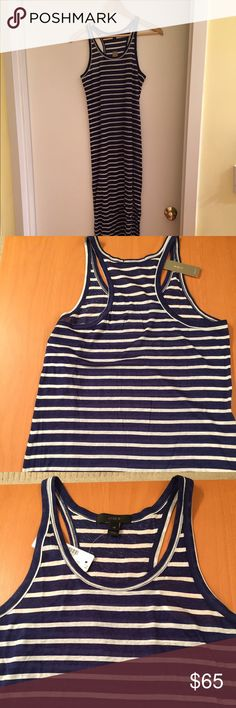 NWT JCrew Navy/White Racerback Maxi SZ XS 100% cotton navy/white striped racerback maxi dress by JCrew in size XS. Side slits. Comes from smoke free/pet free home. J. Crew Dresses Maxi