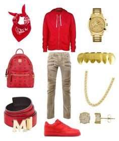 """Bloody O"" by chiefkeefsosaa on Polyvore featuring Polo Ralph Lauren, Balmain, NIKE, MCM, GUESS, Simply Silver, men's fashion and menswear"