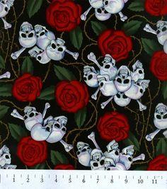 Novelty Cotton Fabric-SkullsNovelty Cotton Fabric-Skulls,