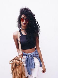 Finíssimas Fashion: Look do dia || Outfit: Cropped Top Black - Tributado!