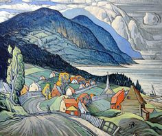 Marc-Aurèle Fortin - Saint-Simeon Really like! Watercolor Landscape, Landscape Art, Landscape Paintings, Watercolor Artists, Landscapes, Canadian Painters, Canadian Artists, Outsider Art, Jig Saw