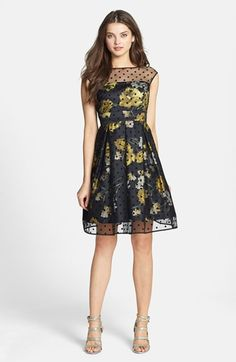 Eliza J Illusion Dot Print Charmeuse Fit & Flare Dress - dress for pear bodyshape #pearbody