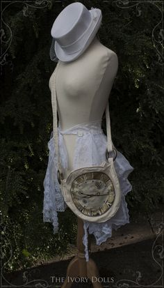 Embroidered clock face bag, and OOAK Faery Bustle Wrap Skirt, by The Ivory Dolls