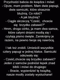 Przychodzi babcia do księdza i mówi: - Fishki.pl Really Funny, The Funny, Man Humor, Good Mood, Texts, Haha, Jokes, Inspirational Quotes, Meme