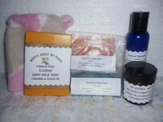Handmade Natural Pure Scen Eczema Skin Care Pkg. Soap, cream, shampoo,Bath Salts. $25.00
