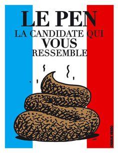 En honor a los trabajadores de la revista francesa... Marine Le Pen, Front National, Charlie Hebdo, Humor Grafico, Political Cartoons, Google, Politics, Caricatures, Mlp