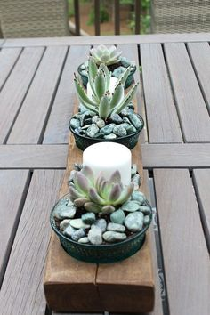 Succulents in Vintage container and more plants in Attention Grabbing Garden Containers at Refresh Restyle