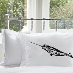 One 1 Black Narwhal whale White Nautical Pillowcase by Royalkane