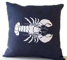 Amore Beaute Handmade Navy Blue Linen Cushion Covers with White Silk Thread Lobster Embroidery - Decorative Throw Pillowcases with Sea Life Embroidery - Beach Decor Oceanic Cushions - Chair Cushion Covers - Navy Blue Pillowcases - Gift Cushion Covers Navy Blue Pillows, Nautical Pillows, Monogram Pillows, Accent Pillows, White Pillow Covers, Decorative Pillow Covers, Cushion Covers, Linen Pillows, Linen Fabric