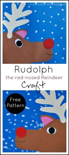 Christmas Kids Craft | Make a Rudolph the Red-Nosed Reindeer Craft out of paper and add dots of snow. Free Pattern included in the blog post. | from I Heart Crafty Things