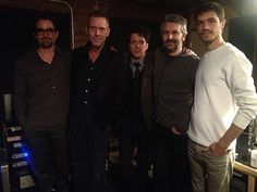 Photo of Hugh Laurie in the house working on some music with producer Joe Henry and engineer Ryan Freeland. for fans of Hugh Laurie 33782196 Gregory House, Hugh Laurie, Future Husband, Actors, Music, Fictional Characters, Musica, Musik, Muziek