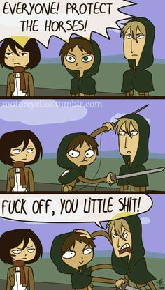 ✔ Memes Anime Otaku Attack On Titan Anime Meme, Manga Anime, Attack On Titan Meme, Attack On Titan Ships, Aot Funny, Funny Comics, Funny Tumblr Comments, Tumblr Funny, Aot Memes