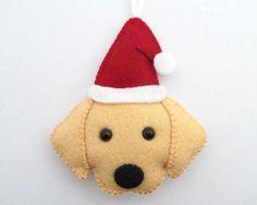 Felt Golden Retriever Ornament // Santa Golden Retriever Christmas Decoration