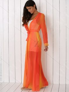 Hit Color Plunging Neck Chiffon Maxi Dress SWEET ORANGE  Maxi Dresses    ZAFUL 67af75f70e