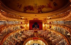 El Ateneo Grand Splendid in Buenos Aires, Argentina. Once a Theatre where the greatest Tango stars of the world  performed it's now South America's most beautiful bookstore. It's on the to-do list, next time we have a 'business reason' to visit Argentina. Thanks to m4caque on Flickr for the photo.