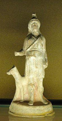 Bendis was a Thracian goddess of the moon and the hunt[1] whom the Greeks identified with Artemis. She was a huntress, like Artemis, but was accompanied by dancing satyrs and maenads on a fifth century red-figure stemless cup (at Verona).
