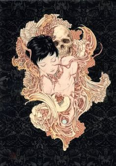 surrealistic macabre fantasy  bone sculpture art | Amazing art by Takato Yamamoto | Memento Mori