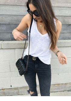 A great dupe for the iconic gucci gg buckle belt and a simple cool girl outfit that is basic with chic elements. Also the best white tank that isn't see through