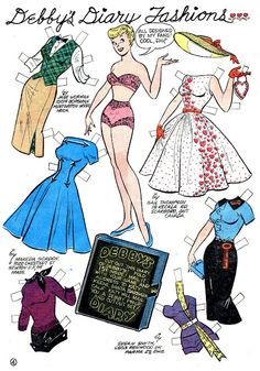 Debby's Diary Fashions* 1500 free paper dolls at Arielle Gabriels International Paper Doll Society also free paper dolls at The China Adventures of Arielle Gabriel *