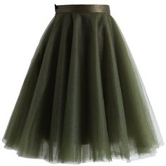 Chicwish Amore Mesh Tulle Skirt in Olive