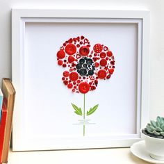 This stunning Personalised Large Poppy Button Artwork makes a unique gift to celebrate your very special Poppy! Button Frames, Button Art, Poppy Craft, Craft Projects, Projects To Try, Craft Ideas, Button Picture, White Box Frame, Remembrance Day