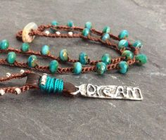Teal crochet necklace  'Dream a little dream' by Mollymoojewels