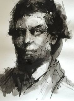 Buy Portrait in ink, a Ink on Paper by Agnes Grochulska from United States. It portrays: People, relevant to: painting, portrait, realism, texture, black & white, classical, minimalistic, contemporary, expression, expressionism, ink, modern Sumi ink portrait
