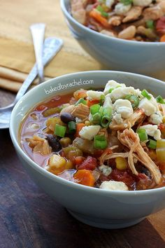 Slow Cooker Two Bean Buffalo Chicken Chili Recipe from bakedbyrachel.com #crockpot #comfort