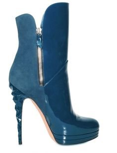 CASADEI 140mm Suede and Patent Ankle Boots