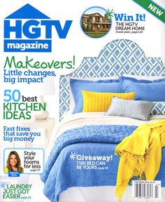 HGTV Magazine is a fresh, new home lifestyle magazine that gives readers inspiring, real-life solutions for all the things that homeowners deal with every day -- from painting to pillows to property values -- in an upbeat and engaging way Hgtv Magazine, Cool Magazine, Magazine Covers, Magazine Rack, Sabrina Soto, Giveaway, Big Money, News Magazines, Particle Board