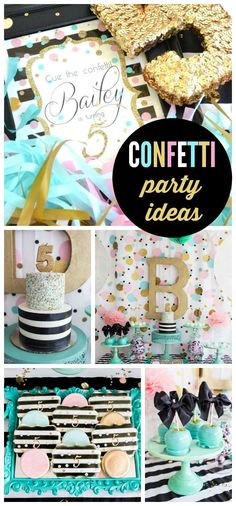 A confetti girl birthday party in teal, pink and gold with face painting, DIY cupcake bar and DIY necklaces!  See more party planning ideas at CatchMyParty.com!