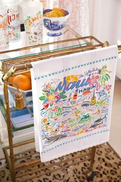 This original design celebrates Maui, Hawaii. Whimsically illustrated Maui dish towel/tea towel with hand-embroidered accents featuring Maui Ocean Center, Haleakala, Wailea, and more. Dish Towels, Hand Towels, Tea Towels, Guest Towels, Cotton Towels, The Fresh, Hostess Gifts, Thoughtful Gifts, How To Look Better