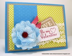 Creped Filter Paper flower, Artisan Embellishments Kit, stitched satin ribbon by Stampin' Seasons: Be My Valentine!