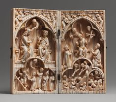 Diptych with the Last Judgment and Coronation of the Virgin, French, c. 1250 - 1270. Made in Paris of elephant ivory