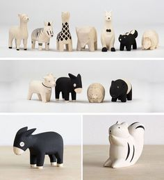18 Decorative Animal Objects That Blur The Line Between Toys And Decor // These animals are carved from light wood and detailed only with black paint to keep the design simple and timeless. #WoodworkingChildrenToys