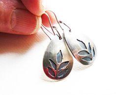 Saw pierced teardrop earrings  silver leaf earrings by Colorismine
