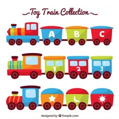 Flat toy train collection Free Vector