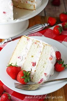 Strawberries and Cream Cake Recipe: Layers of moist white cake are sandwiched between a whipped cream cheese, strawberry studded frosting in this beautiful and delicious cake that's perfect for any spring celebration! Strawberry Ice Cream Cake, Strawberry Cakes, Strawberry Recipes, Strawberries And Cream, Moist White Cake, White Cake Mixes, White Cakes, Mini Cakes, Cupcake Cakes